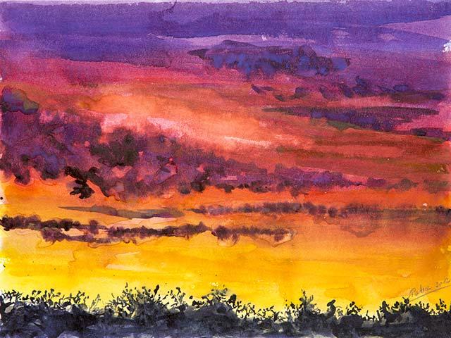 Sonnenuntergang im Weinviertel, Aquarell 40/30cm, 2012