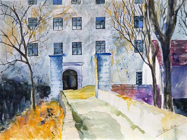 Galerie Landschaften: Eingang zum Schloß, Aquarell 40/30cm, 2012
