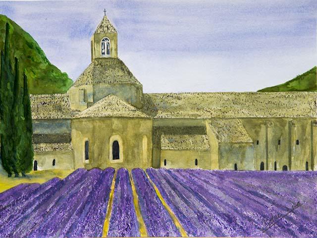 Lavendelfeld, Aquarell 40/30cm, 2012