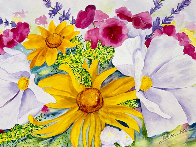 Bunte Blumen, Aquarell 40/30cm, 2013