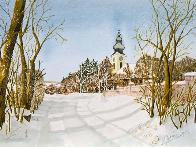Galerie Landschaften: Winter in Wolfpassing, Aquarell 40/30cm, 2013