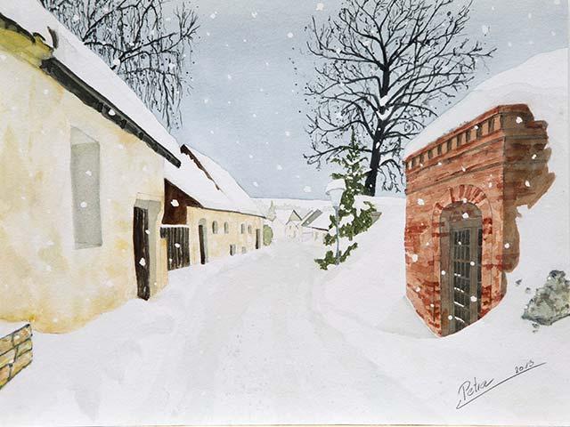Galerie Landschaften: Kellergasse im Winter Wolfp., Aquarell 40/30cm, 2013