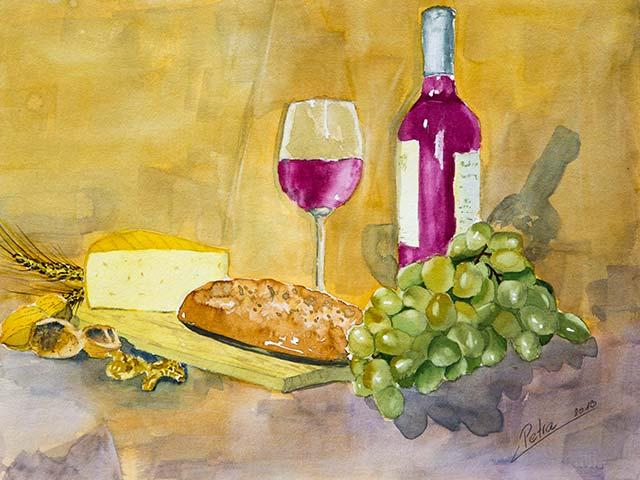 Brot und Wein, Aquarell 40/30cm, 2013