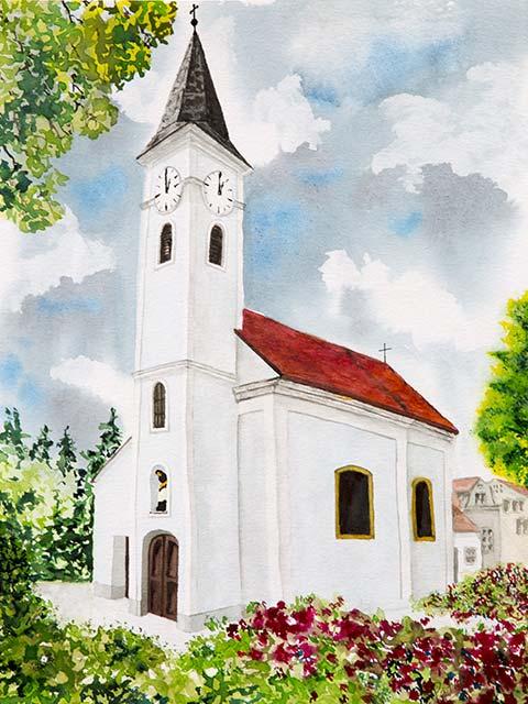 Galerie Landschaften: Kirche Bogenneusiedl, Aquarell 40/30cm, 2013