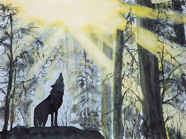 Wolfsgeheul, Aquarell 40/30cm, 2013