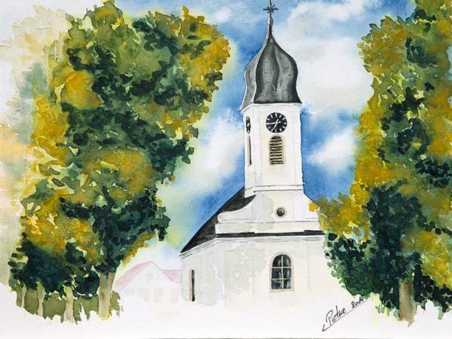 Kirche in Traunfeld, Aquarell 40/30cm, 2014