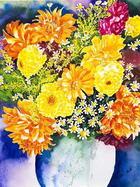 Galerie Blumen: Dahlienstrauß, Aquarell 30/40cm, 2014