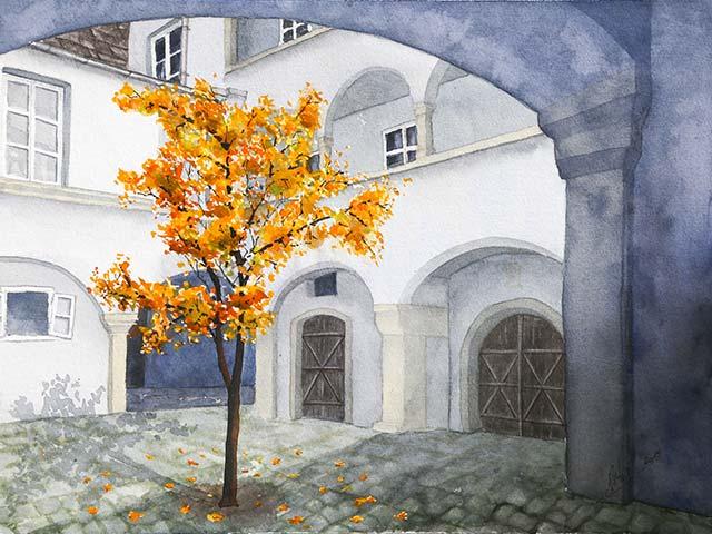 Galerie Landschaften: Herbstlicher Grazer Innenhof, Aquarell 40/30cm, 2015