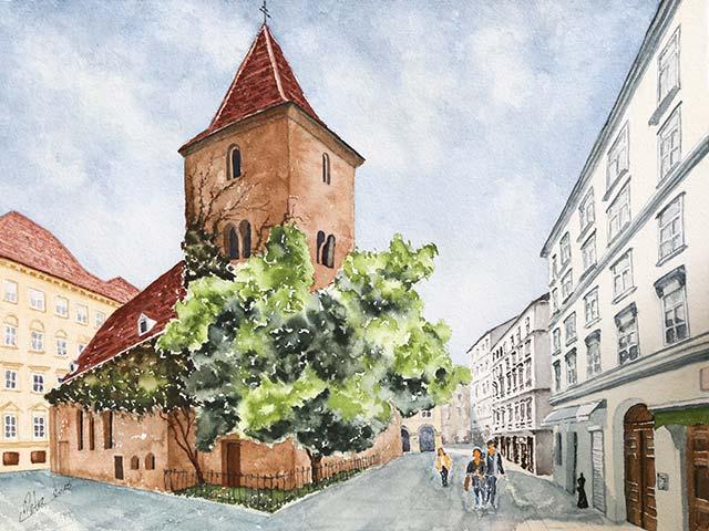 Ruprechtskirche in Wien, Aquarell 40/30cm, 2015
