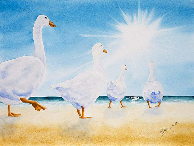 Galerie Tiere: Der Sonne entgegen, Aquarell 40/30cm, 2015
