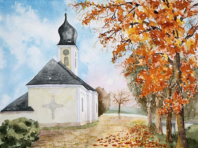 Galerie Landschaften: Kirche in Traunfeld, Aquarell 40/30cm, 2015