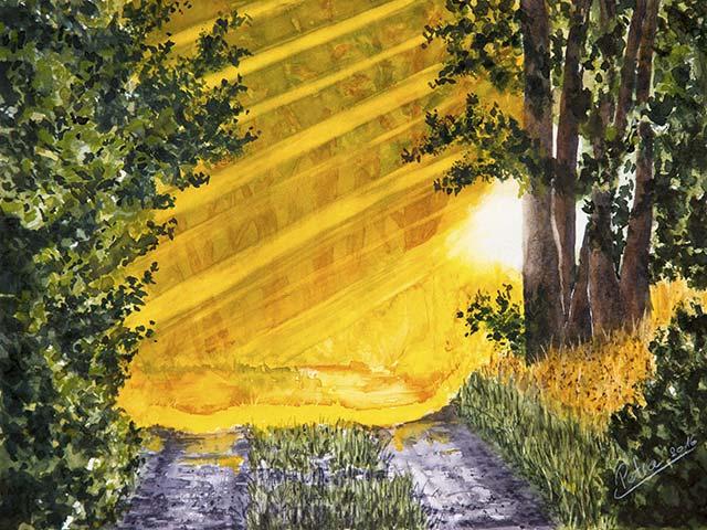 Lichtstimmung im Wald, Aquarell 40/30cm, 2016