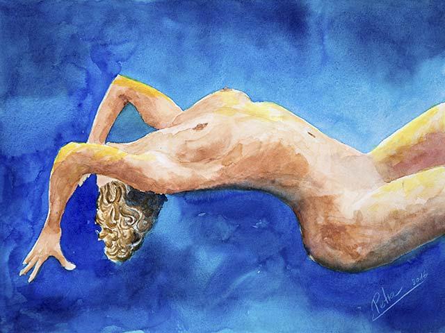 Frauenakt, Aquarell 40/30cm, 2016