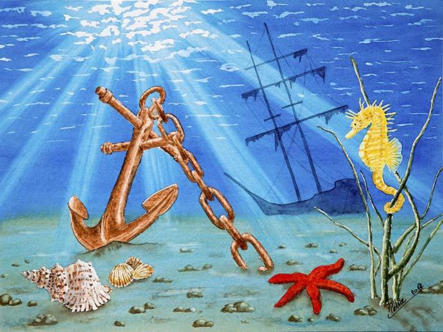 Unterwasserwelt, Aquarell 40/30cm, 2017
