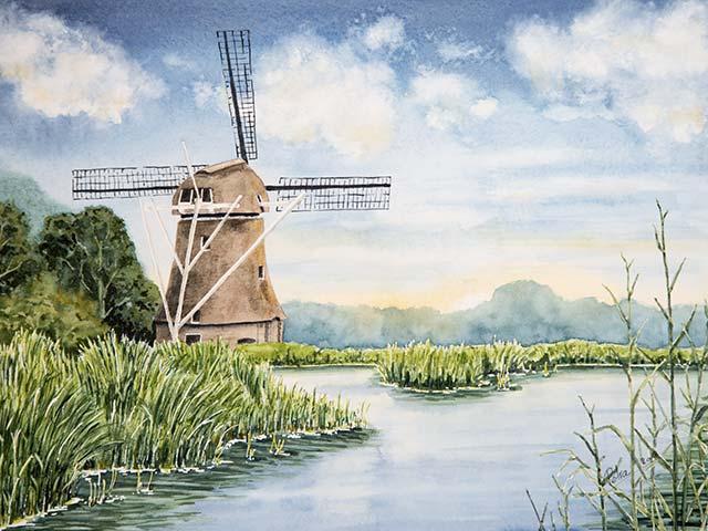 Galerie Landschaften: Windmühle in Holland, Aquarell 40/30cm, 2018