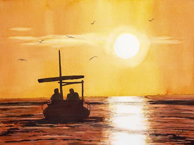 Galerie Landschaften: Sonnenuntergang am Meer, Aquarell 40/30cm, 2018