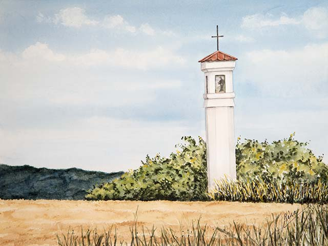 Galerie Landschaften: Marterl am Feld bei Streifing, Aquarell 40/30cm, 2019